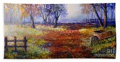 Autumn Wheelbarrow Beach Sheet by Lou Ann Bagnall