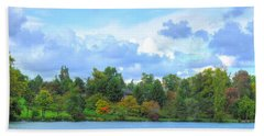 Beach Sheet featuring the photograph Autumn's Beauty At Hoyt Lake by Michael Frank Jr