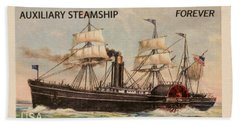 Auxiliary Steamship Stamp Beach Towel