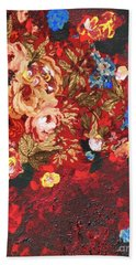 Beach Towel featuring the painting Baba's Garden Lg by Alys Caviness-Gober