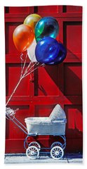 Baby Buggy With Balloons  Beach Towel