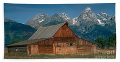 Beach Towel featuring the photograph Barn And Tetons by Jerry Fornarotto