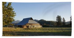 Barn In The Applegate Beach Sheet by Mick Anderson