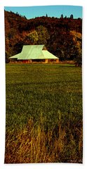 Beach Towel featuring the photograph Barn In The Style Of The 60s by Mick Anderson
