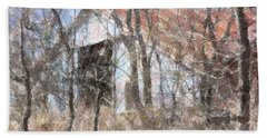 Barn Through Trees Beach Towel