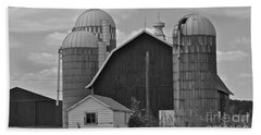 Barns And Silos Black And White Beach Towel