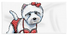 Beach Towel featuring the mixed media Beach Babe Westie by Catia Lee