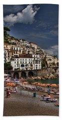 Beach Scene In Amalfi On The Amalfi Coast In Italy Beach Sheet