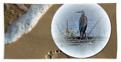 Beached Heron Beach Towel by Sue Stefanowicz