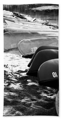 Beach Towel featuring the photograph Beached Kayaks by Julia Wilcox