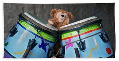 Beach Towel featuring the photograph Bear And His Drums At Walt Disney World by Thomas Woolworth