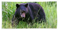 Bear On The Hillside Beach Towel by Myrna Bradshaw