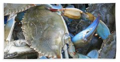 Beaufort Blue Crabs Beach Towel by Patricia Greer