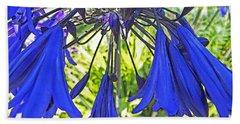 Beach Towel featuring the digital art Beautiful Bluebells Close-up by Anne Mott