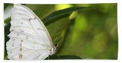 Beautiful White Morpho Butterfly Beach Towel