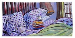 Bed And Books Beach Sheet