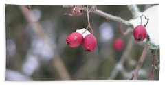 Berries In Winter Beach Towel
