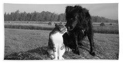 Best Buddies Black And White Beach Towel by Kent Lorentzen