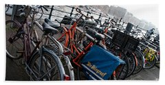Bikes In Amsterdam Beach Towel by Carol Ailles