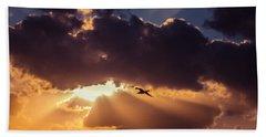 Bird In Sunrise Rays Beach Sheet