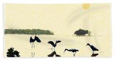 Beach Sheet featuring the photograph birds feeding in the Everglades by Dan Friend