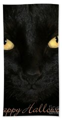 Black Cat Halloween Card Beach Towel