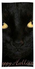 Black Cat Halloween Card Beach Sheet
