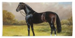 Black English Horse Beach Towel