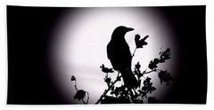 Blackbird In Silhouette  Beach Sheet by David Dehner