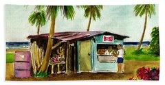 Blue Beach Shack Los Pinones Puerto Rico Beach Sheet by Frank Hunter