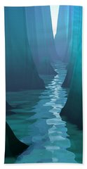 Beach Towel featuring the digital art Blue Canyon River by Phil Perkins