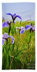 Blue Flag Iris Flowers Beach Towel