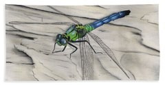 Blue-green Dragonfly Beach Towel