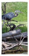 Blue Heron At The Lake Beach Sheet