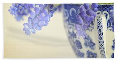 Blue Muscari Flowers In Blue And White China Cup Beach Towel