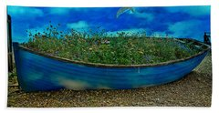 Beach Towel featuring the photograph Blue Sky Boat  by Chris Lord