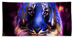 Beach Towel featuring the photograph Blue Tiger Of The Purple Forest by George Pedro