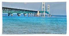 Blue Water In The Straits Of Mackinac Beach Sheet by Janice Adomeit