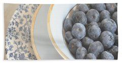 Blueberries In Blue And White China Bowl Beach Towel