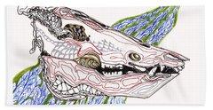 Boar Skull Ink Beach Sheet
