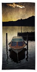 Boat During Sunset Beach Towel
