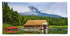Boathouse On Mountain Lake Beach Towel
