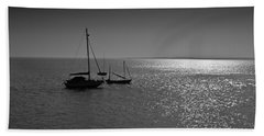 Boats Moored Off Of Leigh Essex Beach Towel