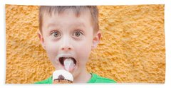 Boy Having Ice Cream Beach Towel