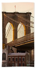 Beach Sheet featuring the photograph Brooklyn Bridge - New York by Luciano Mortula