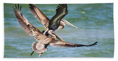 Brown Pelicans Taking Flight Beach Sheet