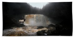 Beach Sheet featuring the photograph Bull Elk In Front Of Waterfall by Dan Friend
