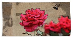 Beach Towel featuring the photograph Bumble Bee And Rose by Donna  Smith