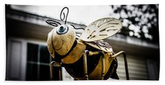 Bumble Bee Of Happiness Metal Statue Beach Towel