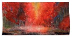 Burning Lake Beach Towel by Yoshiko Mishina